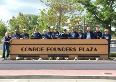 The Conroe Kiwanis Club adopted Founders Plaza at 205 Metcalf Street as part of the City of Conroe's Adopt-a-Park program.